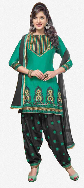 Embroidered Designer Patiala Suits In Cotton:atisundar angelic   in Bottle Green - 5708 - atisundar - 2 - click to zoom