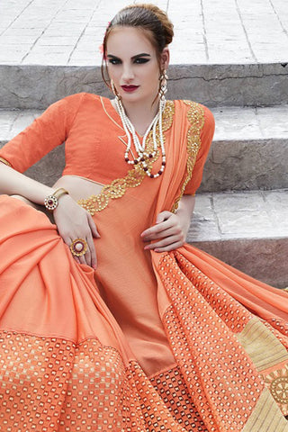 Designer Saree:atisundar enticing Faux Georgette with Rachel Net Embroidered Saree with Banglori Blouse in Orange  - 13082