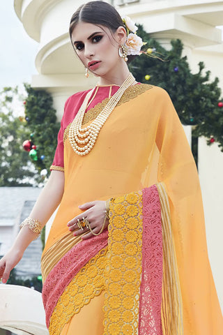 Designer Saree:atisundar Lovely Faux Georgette with Rachel Net Embroidered Saree with Banglori Blouse in Yellow  - 13085