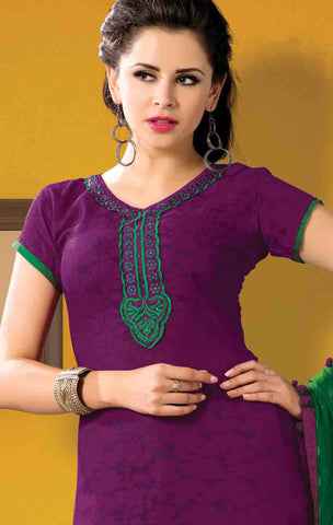 Designer Embroidered Suits In Jacquard:atisundar appealing   in Purple - 5712 - atisundar - 4 - click to zoom
