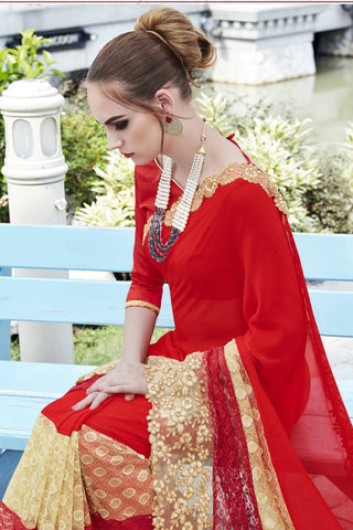 Designer Saree:atisundar enticing Faux Georgette with Rachel Net Embroidered Saree with Banglori Blouse in Red  - 13086
