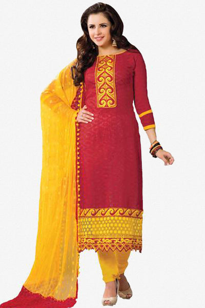 Designer Embroidered Suits In Jacquard:atisundar wonderful   in Red - 5715 - click to zoom