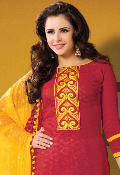 Designer Embroidered Suits In Jacquard:atisundar wonderful   in Red - 5715 - atisundar - 4 - click to zoom