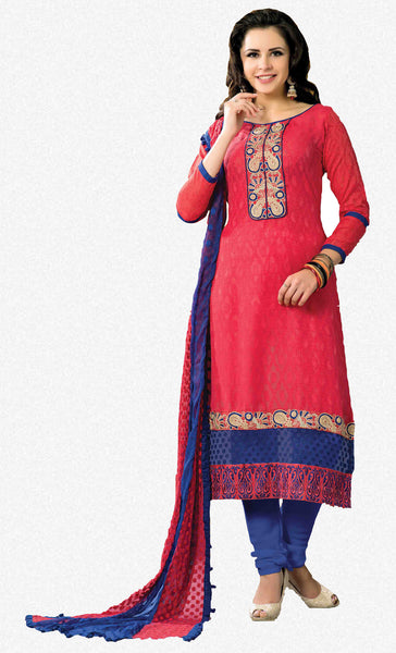 Designer Embroidered Suits In Jacquard:atisundar admirable   in Cherry Red - 5719 - atisundar - 2 - click to zoom