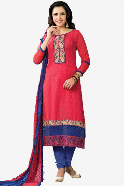 Designer Embroidered Suits In Jacquard:atisundar admirable   in Cherry Red - 5719 - click to zoom