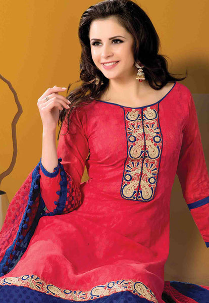 Designer Embroidered Suits In Jacquard:atisundar admirable   in Cherry Red - 5719 - atisundar - 4 - click to zoom