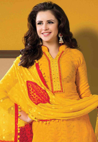 Designer Embroidered Suits In Jacquard:atisundar gorgeous   in Yellow - 5721 - atisundar - 4