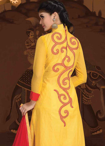 Designer Embroidered Cotton Lawn Suits:atisundar classy   in Yellow - 5726 - atisundar - 4