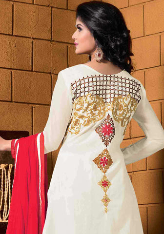Designer Embroidered Cotton Lawn Suits:atisundar Superb   in White - 5728 - atisundar - 4