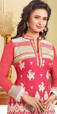 Designer Embroidered Straight Cut In Pure Cotton:atisundar fair   in Pink - 5733 - atisundar - 5