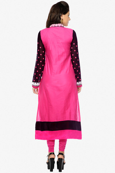 Designer Embroidered Straight Cut In Pure Cotton:atisundar fascinating   in Black And Pink - 5740 - click to zoom