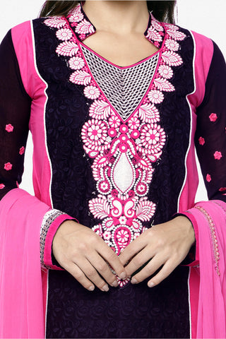 Designer Embroidered Straight Cut In Pure Cotton:atisundar fascinating   in Black And Pink - 5740
