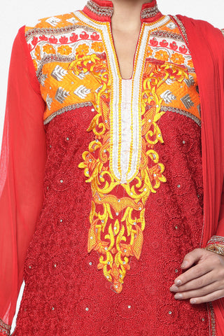 Designer Embroidered Straight Cut In Pure Cotton:atisundar Great   in Red - 5742