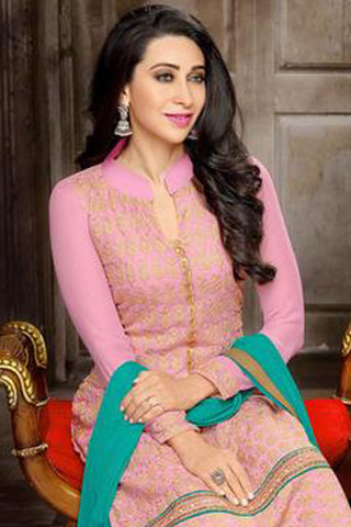 The Karishma Kapoor Collection:atisundar Great Pink Designer Straight Cut  - 7506
