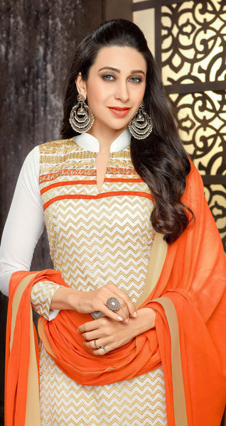 The Karishma Kapoor Collection:atisundar Awesome Off White Designer Straight Cut  - 7509 - atisundar - 4 - click to zoom