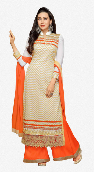 The Karishma Kapoor Collection:atisundar Awesome Off White Designer Straight Cut  - 7509 - atisundar - 1 - click to zoom