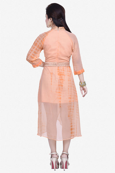 Designer Top:atisundar Alluring Bemberg Viscose Georgette Designer Embroidered Party Wear Top in Light Orange - 10963 - click to zoom