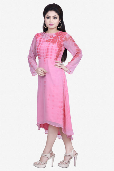 Designer Top:atisundar Superb Bemberg Viscose Georgette Designer Embroidered Party Wear Top in Pink - 10964 - atisundar - 2 - click to zoom