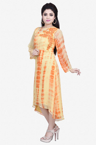 Designer Top:atisundar delightful Bemberg Viscose Georgette Designer Embroidered Party Wear Top in Yellow And Orange - 10965 - click to zoom