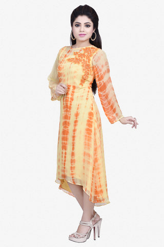 Designer Top:atisundar delightful Bemberg Viscose Georgette Designer Embroidered Party Wear Top in Yellow And Orange - 10965 - atisundar - 2 - click to zoom