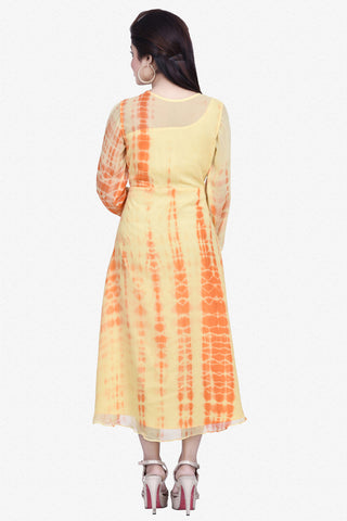 Designer Top:atisundar delightful Bemberg Viscose Georgette Designer Embroidered Party Wear Top in Yellow And Orange - 10965 - atisundar - 3 - click to zoom