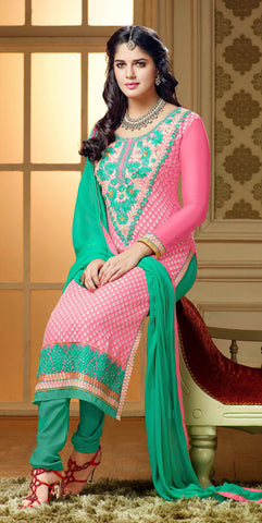 Designer Straight Cut:atisundar gorgeous Pink Designer Straight Cut  - 7550 - atisundar - 4 - click to zoom