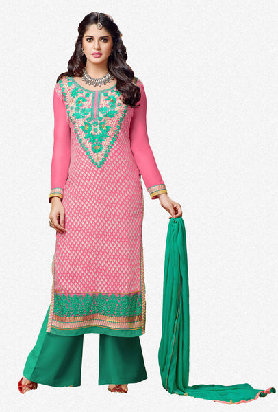 Designer Straight Cut:atisundar gorgeous Pink Designer Straight Cut  - 7550 - click to zoom