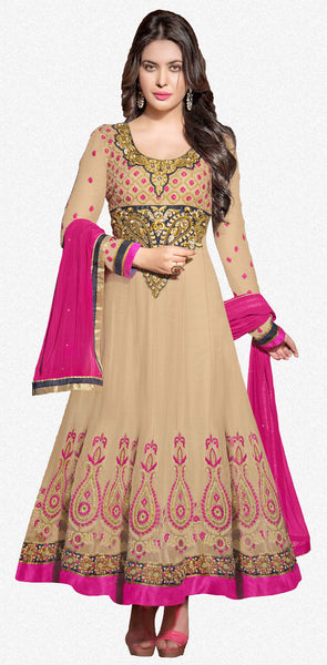 atisundar ravishing Beige Designer Embroidered Anarkali - 5934 - click to zoom