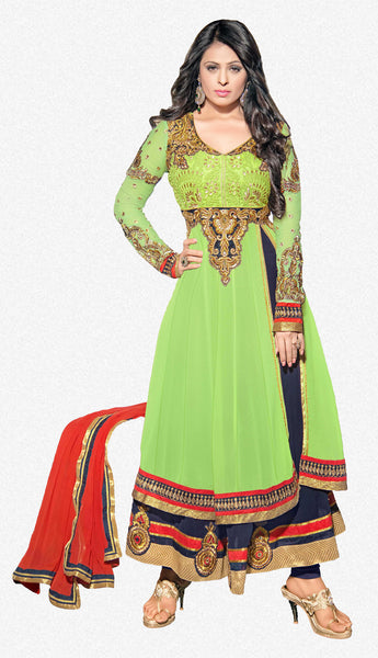 atisundar marvelous Parrot Green  Designer Embroidered Anarkali In Pure Bemberg Viscose Georgette - 5938 - atisundar - 2 - click to zoom