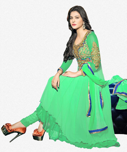 atisundar bewitching Green Designer Embroidered Anarkali In Pure Bemberg Viscose Georgette - 5940 - atisundar - 2 - click to zoom
