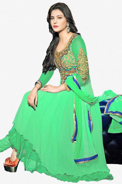 atisundar bewitching Green Designer Embroidered Anarkali In Pure Bemberg Viscose Georgette - 5940 - click to zoom