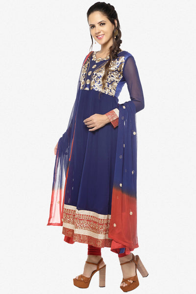 Parineeti Chopra For Siya:atisundar charming Blue Bollywood Embroidered Anarkali - 5954 - click to zoom
