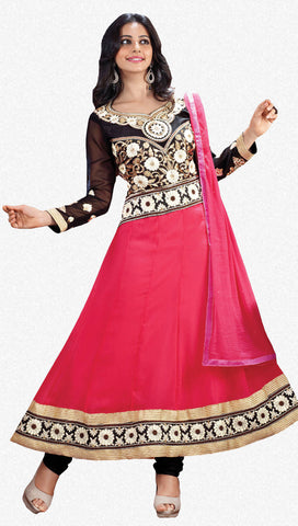 Party Wear Anarkalis:atisundar classy Peach And Black Designer Embroidered Anarkali - 5961 - atisundar - 1 - click to zoom