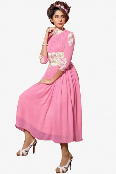 Designer Tops:atisundar wonderful Faux Georgette Designer Tops in Pink - 9351 - click to zoom