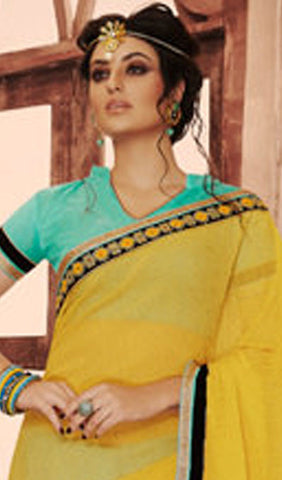 Designer Embroidered Saree:atisundar classy Designer Embroidered Party Wear Sarees in Yellow  - 8993 - atisundar - 2