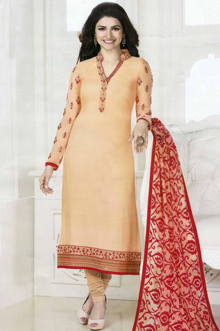 The Prachi Desai Collection:atisundar ravishing Peach Designer Party Wear Straight Cut Suits In Faux Georgette - 10486 - atisundar - 3 - click to zoom