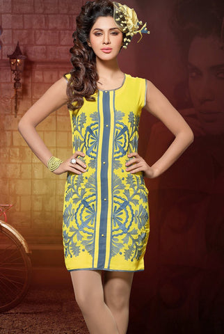 Designer Tops:atisundar excellent Faux Georgette Designer Tops in Yellow - 9335 - atisundar - 3