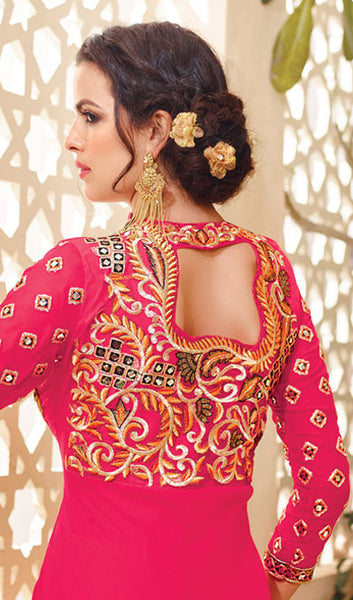 Designer Embroidered Suit:atisundar splendid Pink Embroidered Suits With Embroidered Back And Embroiderd Sleeves - 10455 - atisundar - 2 - click to zoom