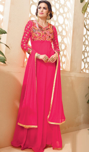 Designer Embroidered Suit:atisundar splendid Pink Embroidered Suits With Embroidered Back And Embroiderd Sleeves - 10455 - atisundar - 3 - click to zoom