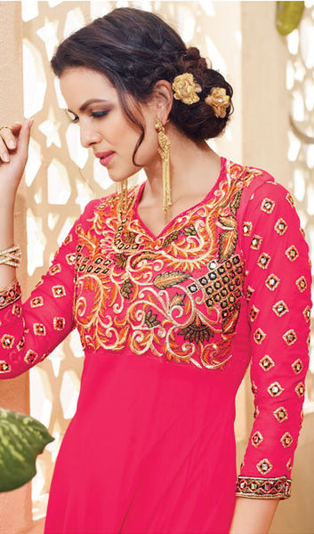 Designer Embroidered Suit:atisundar splendid Pink Embroidered Suits With Embroidered Back And Embroiderd Sleeves - 10455 - atisundar - 4 - click to zoom