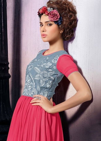 Designer Tops:atisundar graceful Faux Georgette Designer Tops in Pink And Grey - 9355 - atisundar - 3