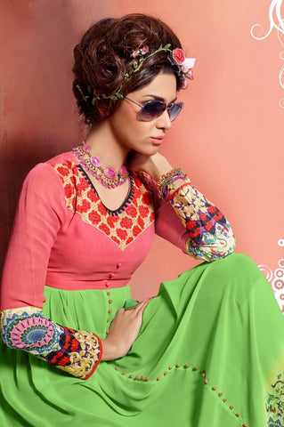 Designer Tops:atisundar marvelous Faux Georgette Designer Tops in Green And Pink - 9359 - atisundar - 3