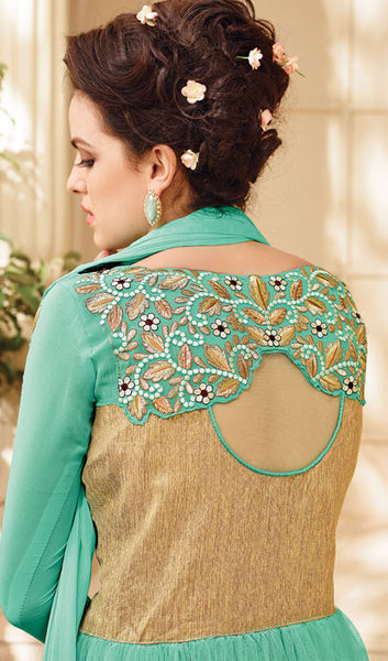 Designer Embroidered Suit:atisundar Lovely Sky Blue Embroidered Suits With Embroidered Back And Embroiderd Sleeves - 10456 - atisundar - 2 - click to zoom