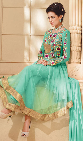 Designer Embroidered Suit:atisundar Lovely Sky Blue Embroidered Suits With Embroidered Back And Embroiderd Sleeves - 10456 - atisundar - 3 - click to zoom