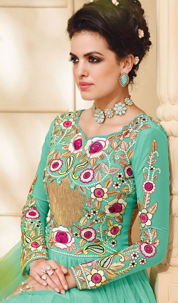 Designer Embroidered Suit:atisundar Lovely Sky Blue Embroidered Suits With Embroidered Back And Embroiderd Sleeves - 10456 - atisundar - 4 - click to zoom