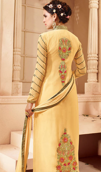 Designer Embroidered Suit:atisundar bewitching Light Yellow Embroidered Suits With Embroidered Back And Embroiderd Sleeves - 10457 - click to zoom