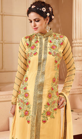 Designer Embroidered Suit:atisundar bewitching Light Yellow Embroidered Suits With Embroidered Back And Embroiderd Sleeves - 10457 - atisundar - 3 - click to zoom