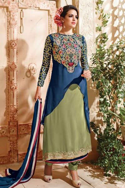 Designer Straight :atisundar Beautiful Navy Blue And Green Designer Embroidered Party Wear Straight Cut In Faux Georgette - 11917 - atisundar - 3 - click to zoom