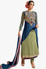 Designer Straight :atisundar Beautiful Navy Blue And Green Designer Embroidered Party Wear Straight Cut In Faux Georgette - 11917 - atisundar - 1 - click to zoom