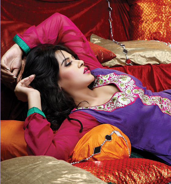 atisundar Varuna: Comely Unstitched Salwar Kameez In Purple - 3995 - atisundar - 5 - click to zoom